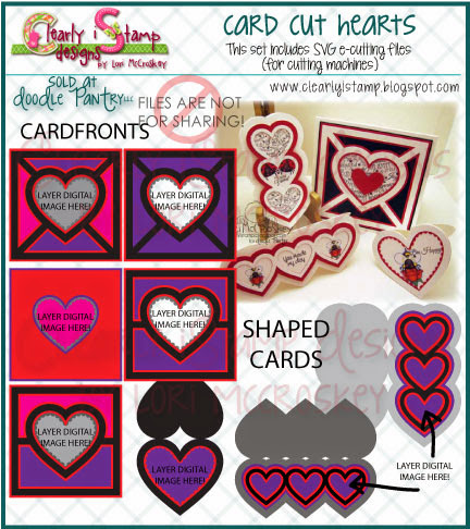 Card Cut Hearts SVG e-cutting file is here at Doodle Pantry!