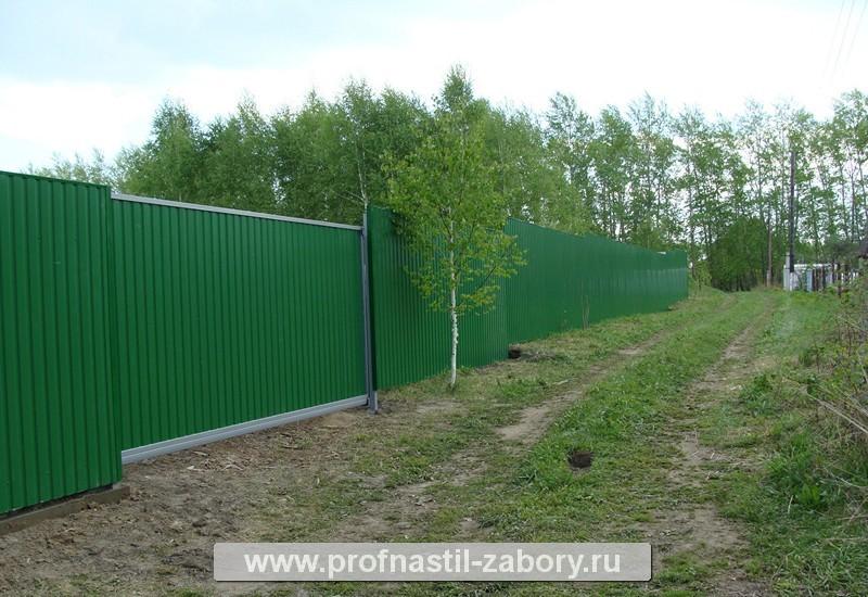 Забор из профнастила работа за метр
