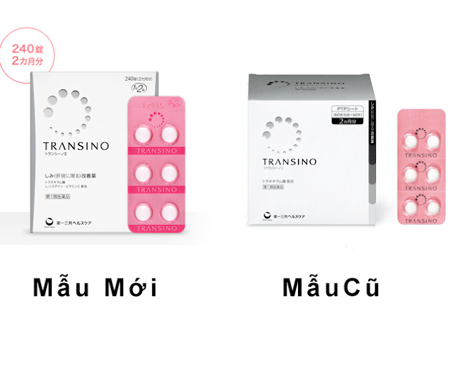 Sản phẩm Transino Whitening trị nám mẫu cũ và mẫu mới nhất