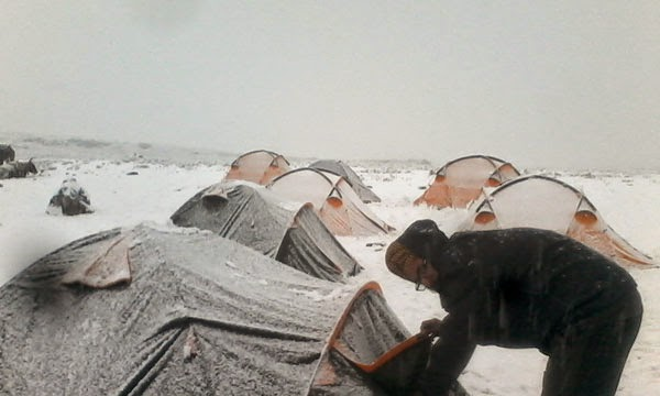 Freezing cold frozen tents at Himalaya India