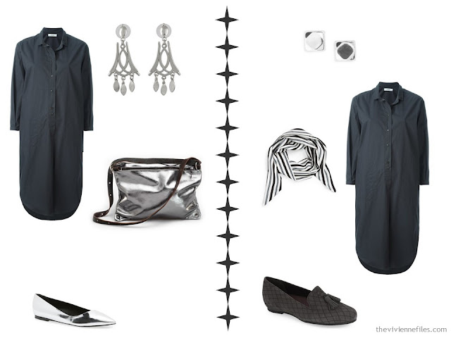 how to accessorize a grey shirtdress: silver, or black, white and grey