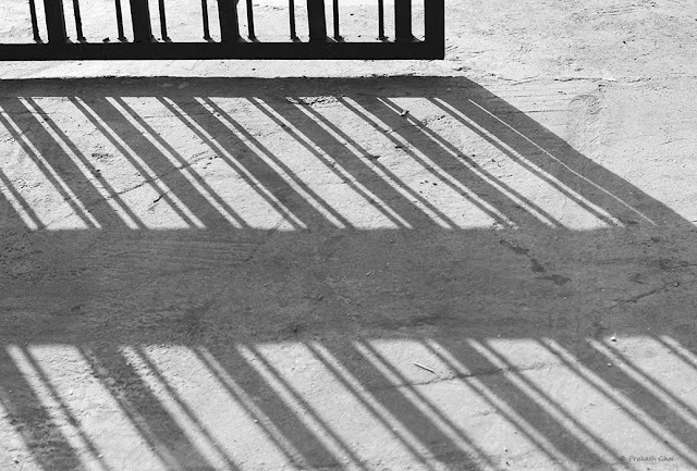 A Black and White Minimalist Photo of the Long Shadow of a Metal Gate being cast on the Street.