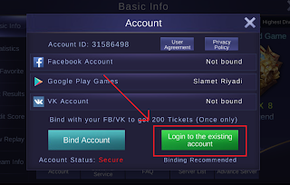 klik login to the existing account