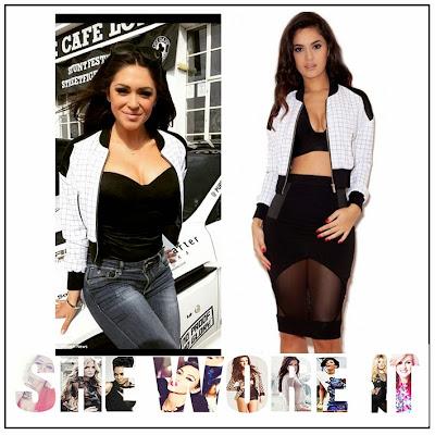 Black, Bomber Jacket, Casey Batchelor, Celebrity Fashion, Celebrity Style, Check Print, Contrast, Cropped, Faux Satin, Grid Print, House Of CB, Jacket, Panels, White, Zip Up,