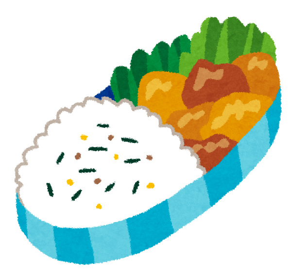 ふりかけご飯と、唐揚げが入ったお弁当のイラストです。
