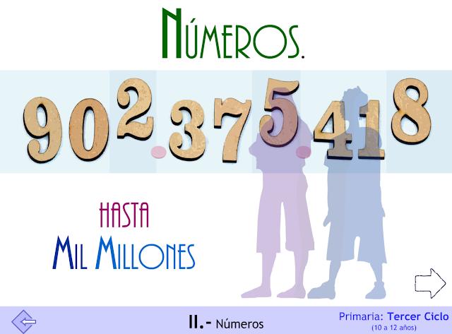 Números. Hasta mil millones. Tercer ciclo de Primaria.