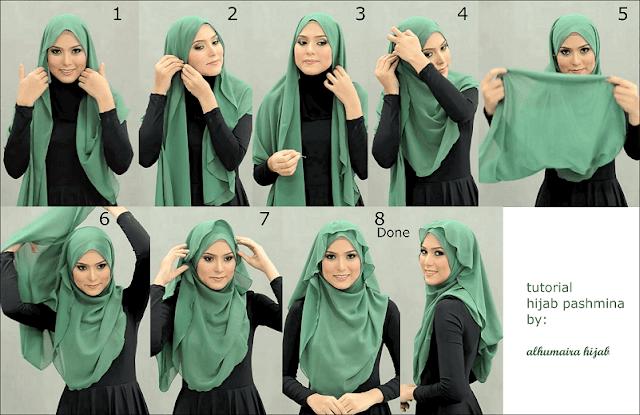 Tutorial Hijab Sifon Ceruti Segi Empat Simple dan Model Terbaru disertai Gambar Step by Step
