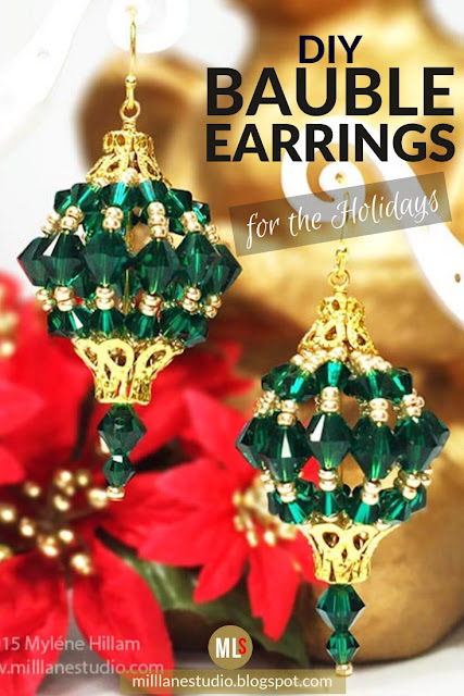 DIY bauble earrings inspiration sheet.