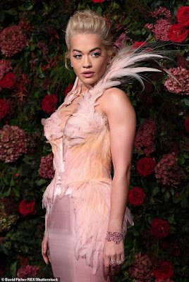 Rita Ora Rocks Plunging Pink Gown Emblazoned With Feathers To The Evening Standard Theatre Awards 2018.