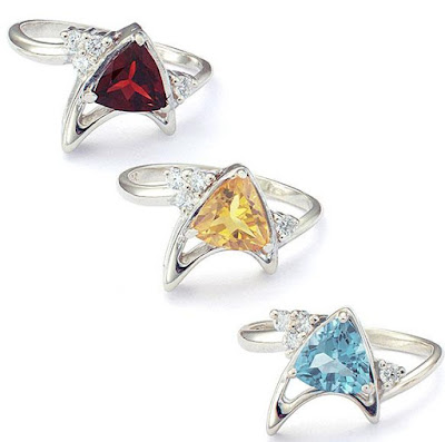 Star Trek Sterling Starfleet Trillion Rings