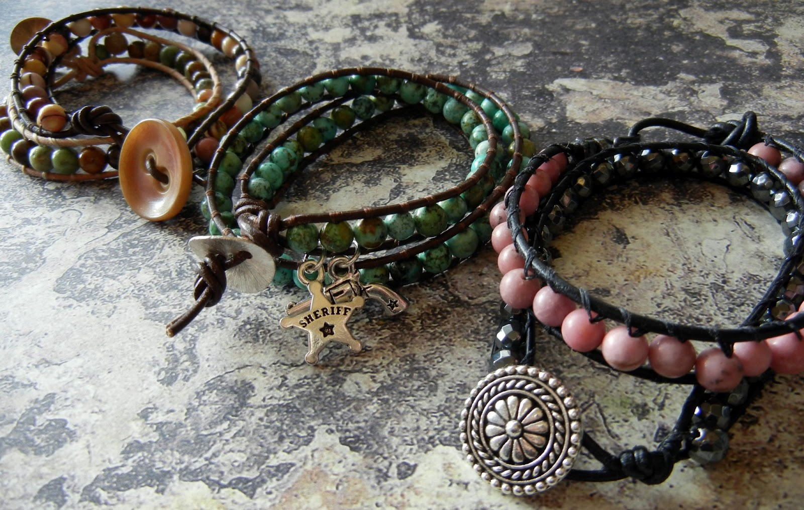 Great Wred Leather And Beads Bracelet Tutorials The