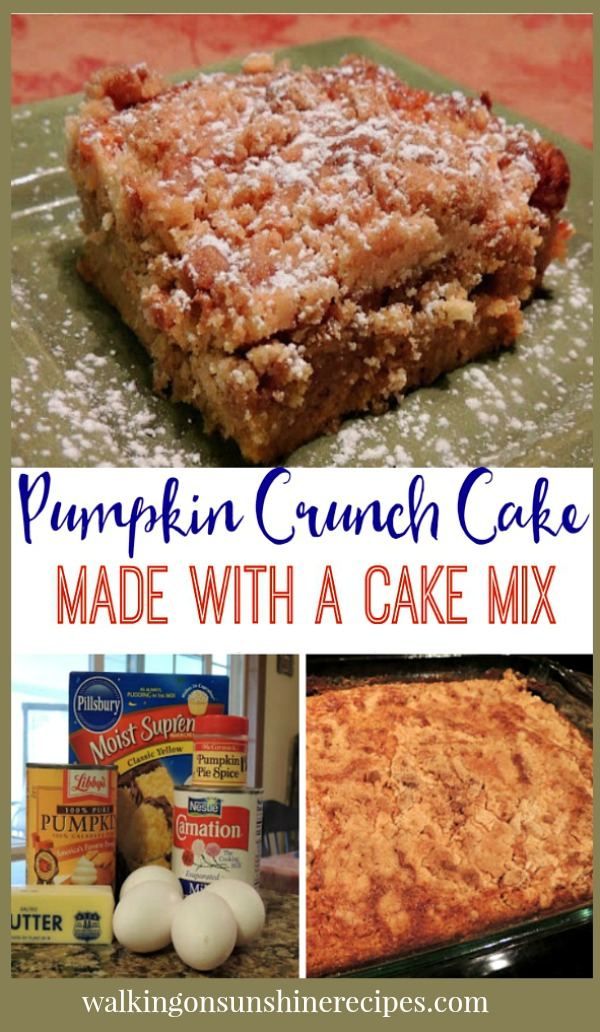 Pumpkin Crunch Cake is an easy recipe to make for your family that starts with a boxed cake mix from Walking on Sunshine Recipes.