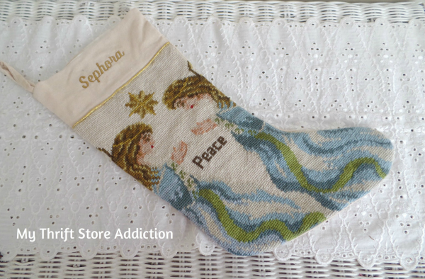 Friday's Find #128  mythriftstoreaddiction.blogspot.com  Needlepoint angel stocking