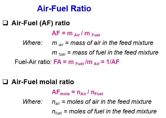 Air/Fuel Ratio Formula