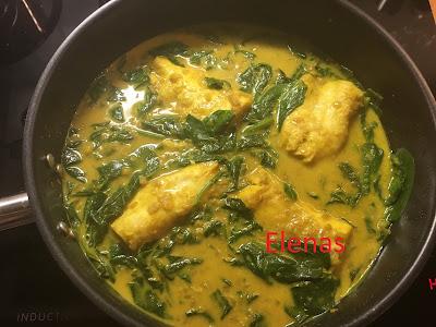 Torskrygg med spenat och gul curry