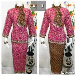 Baju Batik Setelan Rok Blus Warna Pink