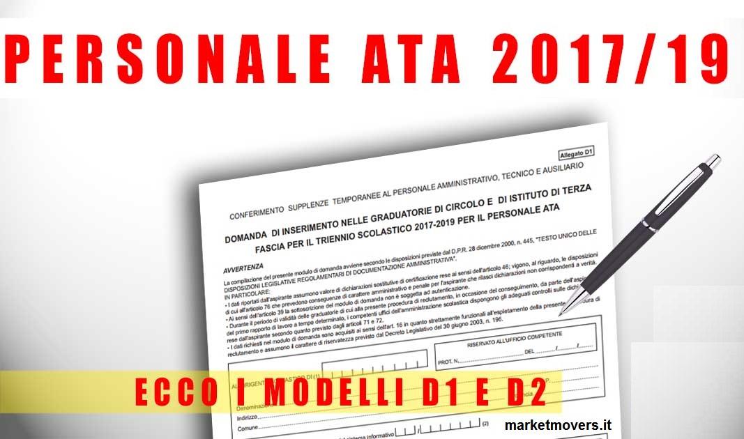 SCARICA DOMANDA PERSONALE ATA 2017 D2