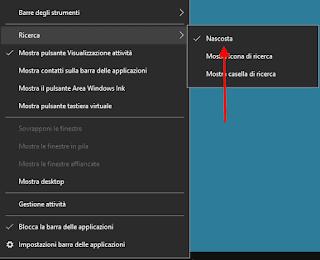 Windows 10 v1903, v1809 e v1803 - Nascondere casella di ricerca