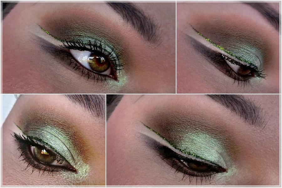 AMU mit grünem Glitter Eyeliner