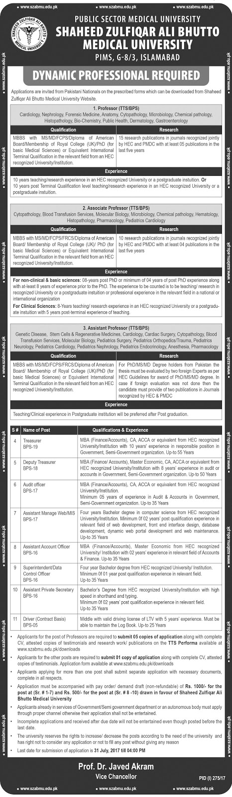 Jobs in Shaheed Zulfikar Ali Bhutto Medical University 16 July 2017