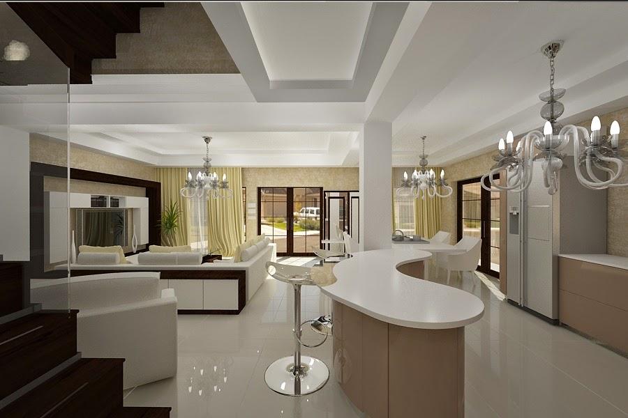 Design interior - living - cu - bucatarie - casa - moderna
