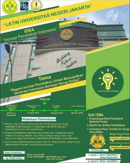 Lomba Karya Tulis Ilmiah Nasional (LKTIN) IDEA 2018 Univ. Negeri Jakarta