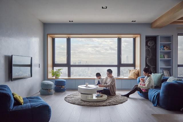 piese de mobilier albastre in living