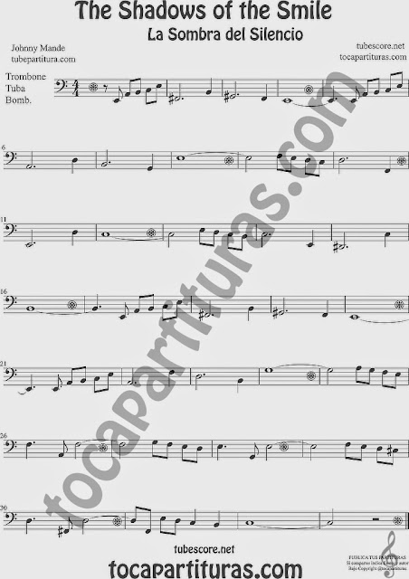 The Shadows of Your Smile Partitura de Trombón, Tuba Elicón y Bombardino Sheet Music for Trombone, Tube, Euphonium Music Scores La Sombra de tu Sonrisa
