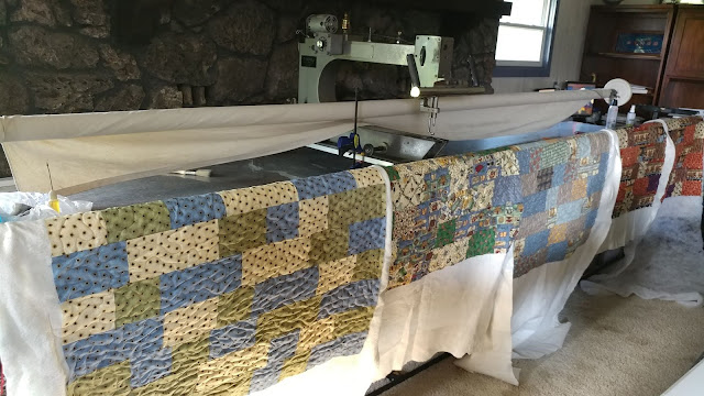 Charity quilts ready for binding