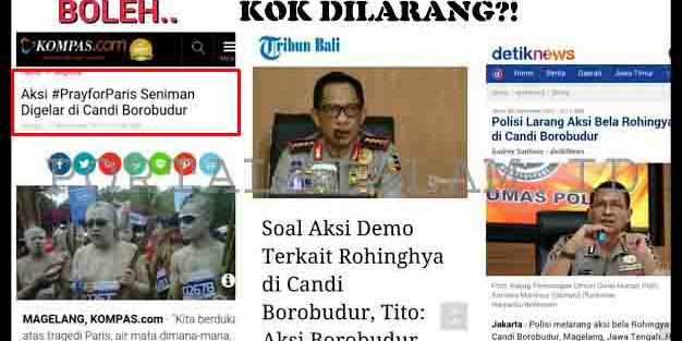 Beda Perlakuan, Borobudur Boleh Dipakai Untuk #PrayforParis, Tapi Dilarang Untuk #SaveRohingya
