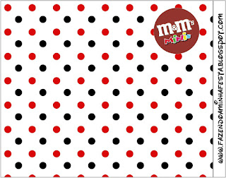 Red Polka Dots in Black and White Free Printable M&M Labels.