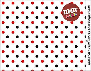 Etiqueta M&M de Lunares Rojos y Negros para imprimir gratis.