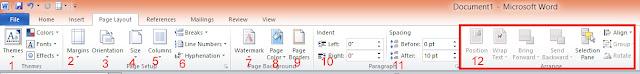 Fungsi Toolbar ataupun Icon page layout pada microsoft word