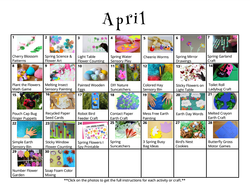 Free downloadable activity calendar for kids for the month of April from And Next Comes L