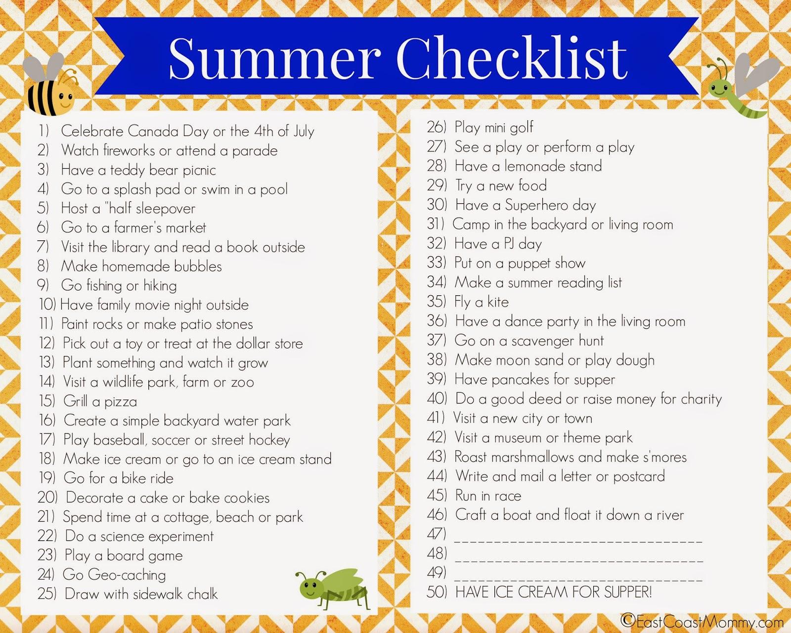 East Coast Mommy Printable Summer Checklist
