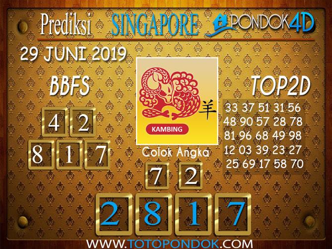 Prediksi Togel SINGAPORE PONDOK4D 29 JUNI 2019