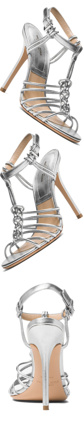 MICHAEL KORS COLLECTION Alek Metallic Leather Sandal silver