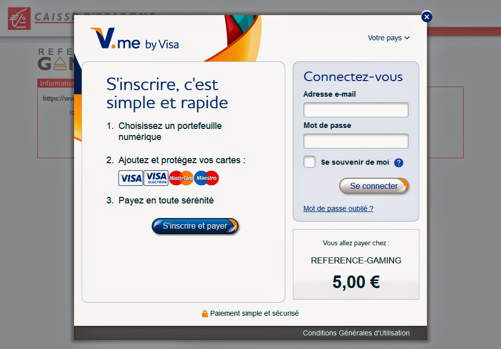 interface de V.me by visa