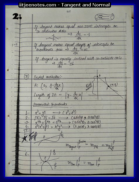Tangent and Normal Notes IITJEE1