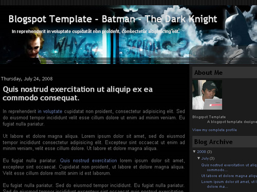 New Blogger Template: Batman - The Dark Knight