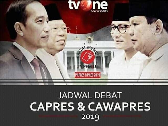 Inilah Jadwal Debat Capres 2019
