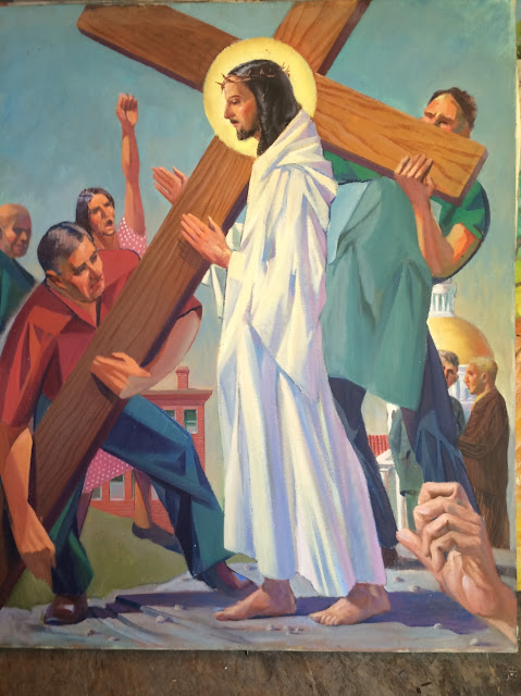 "Image of Francis Quirk Painting ""Fifth Station of the Cross"" ""Simone of Cyrene Helps Jesus to carry his cross"" Painting by Francis J. Quirk"