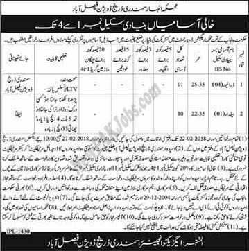 Last Date:  27 Feb 2018  Location:  Faisalabad  Posted on:  01 Feb 2018  Category:  Government   Organization:  Irrigation Department    Website/Email:  N/A  No. of  Vacancies  11  Education required:  Primary,  How to Apply:  Mentioned in Newspaper ad