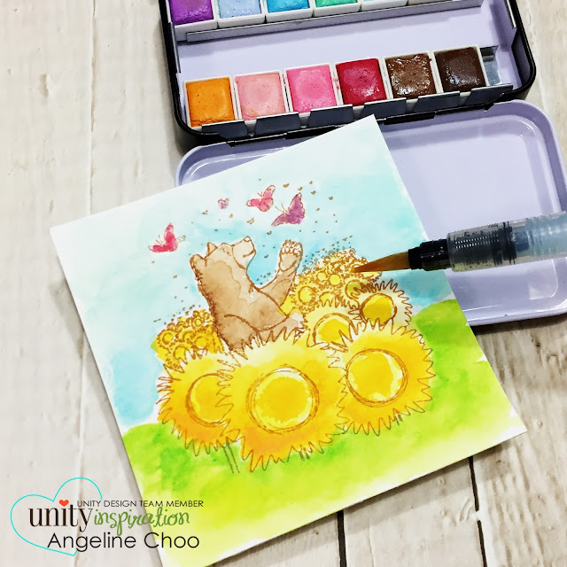 Unity Stamp: Inspiration Wednesday with Angeline #unitystampco #scrappyscrappy #phyllisharris #watercolor #card #cardmaking #papercraft
