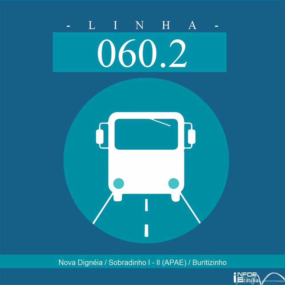 Horário de ônibus e itinerário 060.2 - Nova Dignéia / Sobradinho I - II (APAE) / Buritizinho