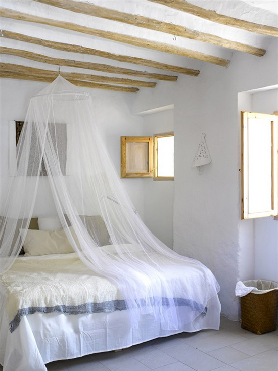 Mosquito protection in bedroom with sheer bed nets. #bedroom #mosquitonet