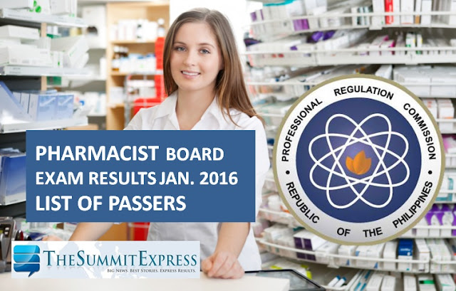 January 2016 Pharmacist board exam results