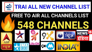 TRAI All New 548 FTA Channel List