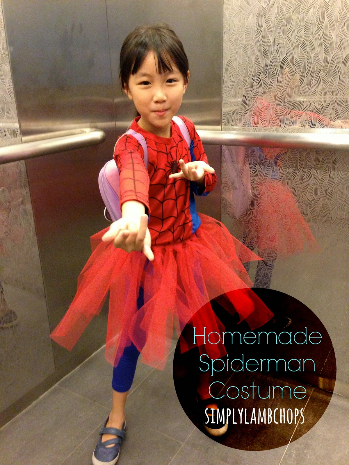 Homemade Spiderman costume for girls by Simply Lambchops