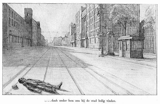 "a 1925 illustration "".... but under him he would find the city empty"" a man lays alone on an empty city street"